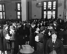 Mess at US Naval Training Center, Hunter College, Bronx, New York, United States, 8 Feb 1943; the location was dedicated to the training of women for the US Navy and Coast Guard (US National Archives)