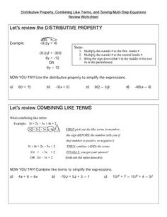 Distribute, Combine, and Solve Multi-Step Equations Review