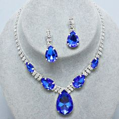 #Beautiful #Wedding #Bridal #Prom #SILVER #BLUE #Rhinestone #Costume #Jewelry #Necklace #Earrings #Set