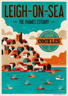 A poster design for the fishing town of Leigh-on-Sea on the Thames Estuary, Essex, UK. The town is famous for it's cockles. I wanted to give the illustration a printed feel, with limited block colours slightly offset from one another, to give a silkscreen…
