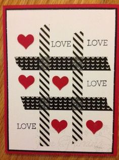 "Tic Tac  Toe Valentine's Day ""Love"" Card; Stacked with Love Designer Washi Tape; Crazy About You Stamp Set"
