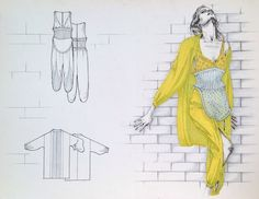 yellow woman's apparel sketches