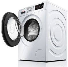 Bosch - 2.2 Cu. Ft. 15-Cycle High-Efficiency Compact Front-Loading Washer - White/Silver - Left Zoom