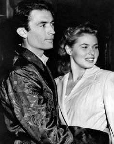 "Gregory Peck & Ingrid Bergman during the filming of ""Spellbound"", directed by Alfred Hitchcock"