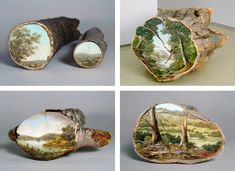 Beautiful Paintings on Fallen Tree Logs Mirror Their Natural Origins - My Modern Met