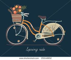 Cute vector retro bicycle for ladies with basket full of spring flowers   Hand drawn vintage fashionable design on spring season ride. Ideal for scrap booking, post cards and wall decoration - stock vector