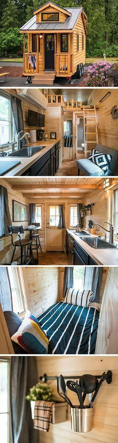 Atticus, a 176 sq ft tiny house on wheels by the Tumbleweed Tiny House Company. Available for rent at the Mt. Hood Village Resort.: