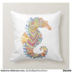 Shop Seahorse celebrates carnival cushion created by EvaBstylishcushions. Carnival, Cushions, Paintings, Throw Pillows, Artwork, Toss Pillows, Toss Pillows, Work Of Art, Paint
