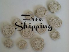 One Dozen Burlap Flowers, Six small and Six medium by redesignaccessories on Etsy https://www.etsy.com/listing/102292688/one-dozen-burlap-flowers-six-small-and