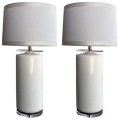 Striking and Stylish Pair of American 1970s White Porcelain Cylindrical Lamps | From a unique collection of antique and modern table lamps at https://www.1stdibs.com/furniture/lighting/table-lamps/
