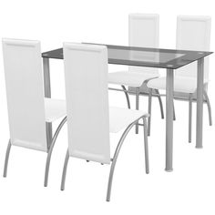 vidaXL White Metal 5 pcs Dining Set Table 4 Chairs Kitchen Dining Room Furniture - Dining Table - Ideas of Dining Table Glass Top Dining Table, Dining Table Chairs, Kitchen Chairs, Dining Room Furniture, Table And Chair Sets, Kitchen Dining, Cheap Dining Sets, Contemporary Dining Table, Home Kitchens