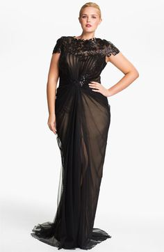 My jaw fell through the floor. I have a friend who requires this on her body, holy wow. Spendy as all goodness, but exquisite! $498  Tadashi Shoji Chiffon & Lace Gown (Plus) | Nordstrom