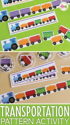 Your kids will love these fun train patterning activities. the printables are perfect for your Eyfs Activities, Small Group Activities, Train Activities, Toddler Activities, Counting Activities, Work Activities, Trains Preschool, Transportation Theme Preschool, Preschool Lesson Plans