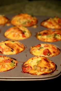 muffin tin quiches, good for work breakfast, grab a muffin and go! I'd skip the pie crust to cut some calories.