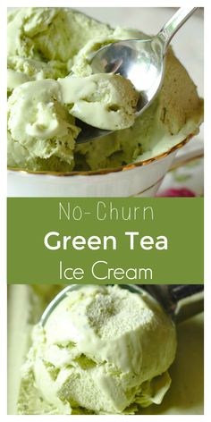 Green Tea Ice Cream – An easy summer dessert made with only 4 ingredients! Thi… Green Tea Ice Cream – An easy summer dessert made with only 4 ingredients! This refreshing recipe is inspired by Japanese flavors and it's so easy to make! Köstliche Desserts, Frozen Desserts, Delicious Desserts, Dessert Recipes, Frozen Treats, Matcha Ice Cream, Green Tea Ice Cream, Cream Tea, Green Tea Recipes