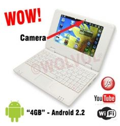 """WHITE Mini Netbook Mini Laptop Computer 7"""" WiFi Internet Android Netbook CHEAP LAPTOP with Built-in Camera (INCLUDES: Velvet Pouch Case, Charger, Mini Optical Mouse)    Product sku: 113Availability: 5Price: $179.99 $119.99"""