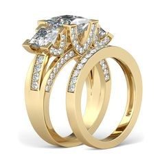 Yellow Gold Three-stone 1.5CT Princess Cut Created White Sapphire Rhodium Plated 925 Sterling Silver Women's Ring