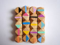Hand painted  Geometric Natural Wood BeadsDo it by LiKeBeads8