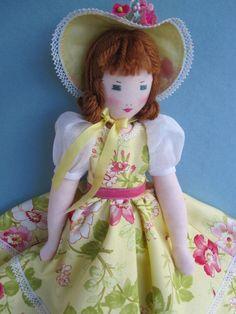 MELINDA, Rag Doll / Cloth Doll, an Edith Flack Ackley pattern doll. $55.00, via Etsy.