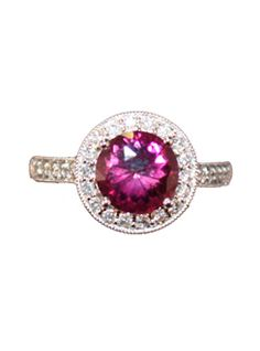 William Barthman                            14kwg ring w/prong set,rnd pink tour dia pave bez,dia pave 1/2 shank.