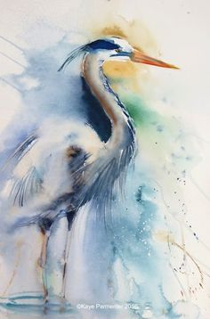 Watercolor Projects, Watercolor Animals, Abstract Watercolor, Watercolor Paintings, Watercolours, Art Triste, Bird Artwork, Coastal Art, Bird Pictures