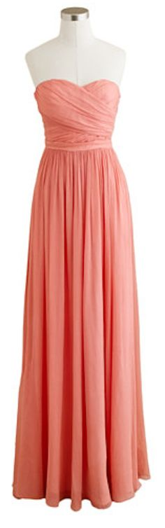 Pretty chiffon bridesmaid dress in coral