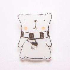 Polar Bear With Scarf Brooch