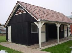 Houten paardenstal Small Barns, Farm Plans, Garages, Equestrian, Shed, New Homes, Outdoor Structures, Horses, Xl