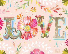 Horizontal LOVE print | Floral Typography | Pink Wall Art | Nursery Decor | Katie Daisy