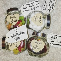Valentine's Day sweet jars.