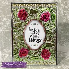 Card created made using Crafter's Companion 3D Embossing Folder - English Rose. Designed by Linda Fitzsimmons #crafterscompanion