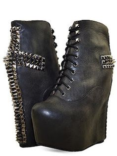 8c1b0290dd8e Jeffery Campbell Leather Lita Spiked Wedge Boots Lace-up