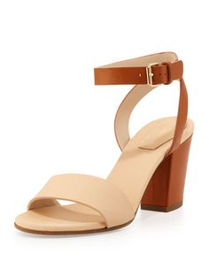Monday, February 10th: Chloe Bicolor Ankle-Wrap Sandal, Ivory/Tan, 212 872 8940