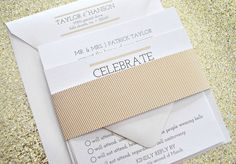 Carolina Wedding Invitation Suite with Belly Band - White, Champagne Gold and Black, Customizable