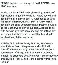 Paisley Park was in Prince's Heart & Prince will 4 ever be in mine