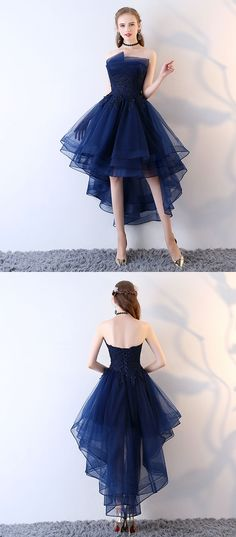 Organza Homecoming Dress, Applique Homecoming Dress, Backless Junior School Dress, High-Low Homecoming Dress, LB0795#homecomingdress