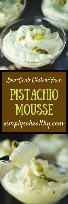 This Low-Carb Pistachio Mousse Recipe makes a delicious dessert. This version uses all natural ingredients and the beautiful green color comes from matcha tea! This creamy mousse can be part of a low-carb, keto, LCHF, Atkins, diabetic, gluten-free, or grain-free diet. Perfect for St. Patrick's Day!