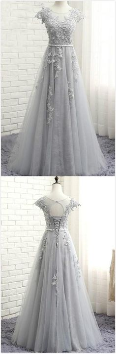 Glamorous Scoop Cap Sleeves Prom Dress,Long Evening Dress,Cheap Prom Dress,Sexy Prom Dress,lace Tulle Long Prom Dress With Appliques