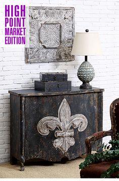 ❥ A wooden cabinet w/ fleur de lis