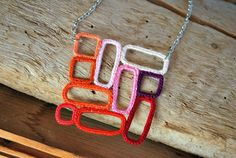 Pink and Orange Ombre Crochet Necklace. Geometric Squares Rectangles. Mosaic.. $43.00, via Etsy.