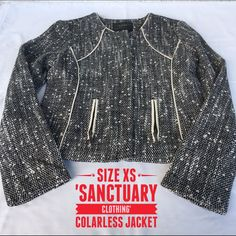 Xs Colarless Tweed Jacket