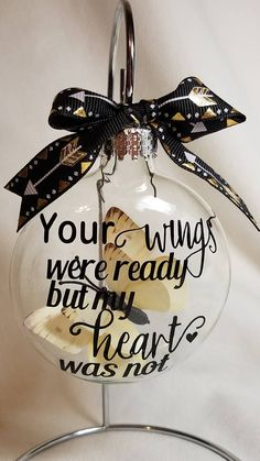 Miscarriage Ornament - Your Wings Were Ready Infant Loss Gift, Baby Memorial Butterfly Christmas Ornament SIDS Personalized Add Name & Date