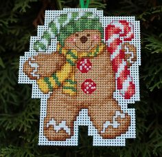 Cross Stitch Christmas Ornament  Gingerbread Man with by britto801