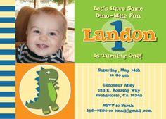 Dinosaur Themed Chalkboard Poster for First Birthday Party 16x20