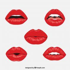dinope Red lips collection with flat design Free Vector - sklawe Tom - Heart Illustration, Illustration Mode, Flat Design, Desenho Pop Art, Lips Painting, Desenho Tattoo, Cartoon Faces, Arte Pop, Lip Art