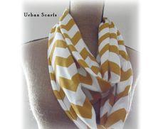 Infinity scarve chevron mustard scarf by UrbanScarfs on Etsy
