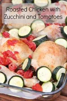 Gluten Free recipe with delicious summer veggies: Roasted Chicken with Zucchini and Tomatoes | 5DollarDinners.com