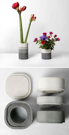 Modular concrete elements allow you to create a vase to your desired size, with a beautiful gray gradient or color blocks. Designed by Xiral Segard.