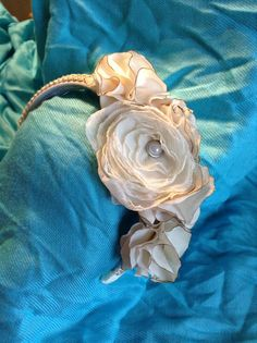Cream silk handmade flower headband by CloudofJudgement on Etsy