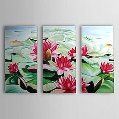 Beautiful Lotus Oil Painting - Set of 3 - Free Shipping